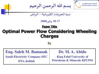 Paper Title Optimal Power Flow Considering Wheeling Charges By