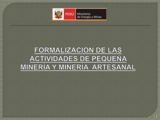 FORMALIZACI�N  DE LAS ACTIVIDADES DE PEQUE�A MINER�A Y MINER�A   ARTESANAL