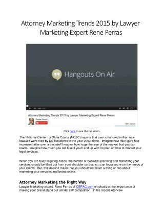 Attorney Marketing Trends for 2014 to 2015
