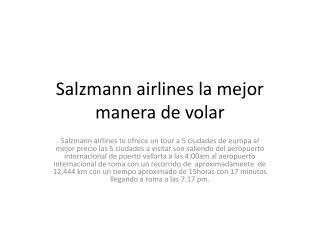 Salzmann airlines  la mejor manera de volar