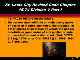 St. Louis City Revised Code Chapter 15.74 Division V Part I