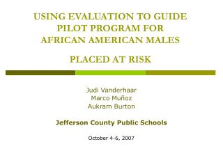 USING EVALUATION TO GUIDE PILOT PROGRAM FOR  AFRICAN AMERICAN MALES  PLACED AT RISK
