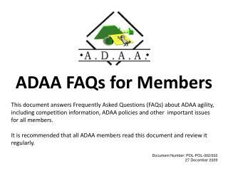 ADAA FAQs for Members