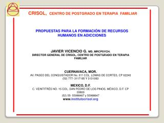 JAVIER VICENCIO G.  MD, MRCPSYCH.