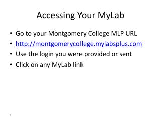 Accessing Your MyLab