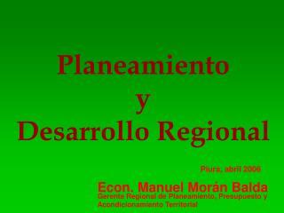 Planeamiento y  Desarrollo Regional