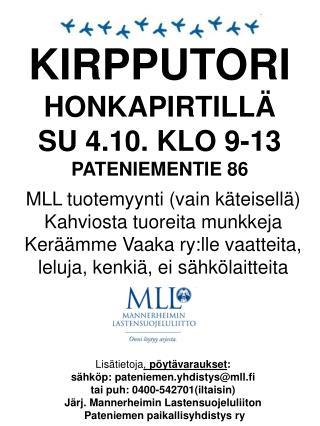 KIRPPUTORI HONKAPIRTILLÄ SU 4.10. KLO 9-13 PATENIEMENTIE 86