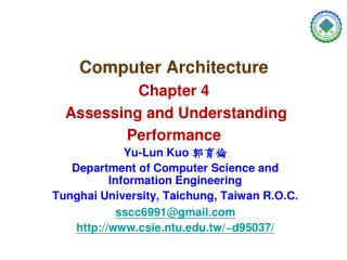 Computer Architecture Chapter 4 Assessing and Understanding Performance