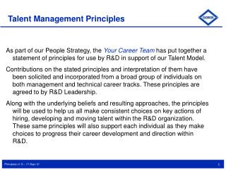 Talent Management Principles