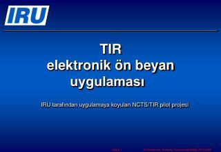 TIR  elektronik ön beyan uygulaması