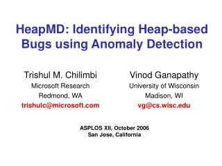 HeapMD: Identifying Heap-based Bugs using Anomaly Detection