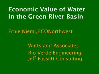 Economic Value of Water in the Green River Basin