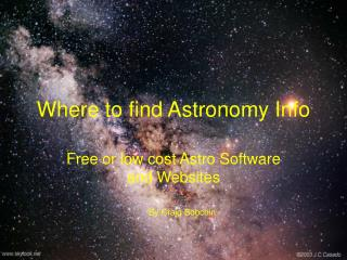 Where to find Astronomy Info