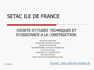 SETAC ILE DE FRANCE