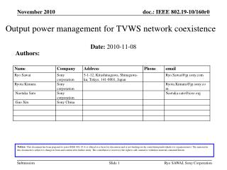 Output  power management for TVWS network coexistence