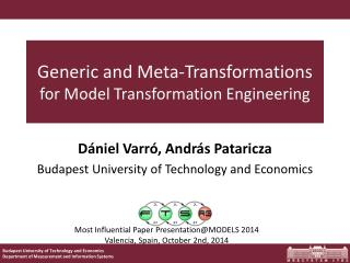 Generic and Meta-Transformations  for Model Transformation Engineering