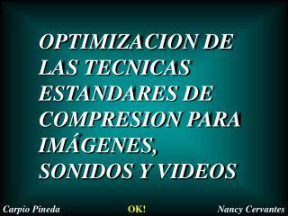 OPTIMIZACION DE LAS TECNICAS ESTANDARES DE COMPRESION PARA IMÁGENES, SONIDOS Y VIDEOS