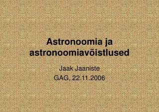 Astronoomia ja astronoomiav�istlused