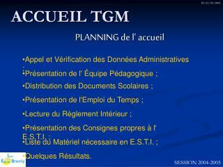 ACCUEIL TGM