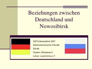 Beziehungen zwischen Deutschland und Nowosibirsk