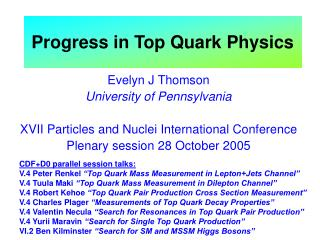 Progress in Top Quark Physics