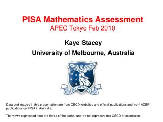 PISA Mathematics Assessment APEC Tokyo Feb 2010