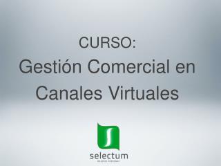 CURSO: Gestión Comercial  en  Canales  Virtuales