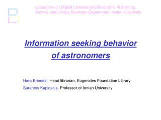 Information seeking behavior  of astronomers