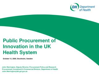 Public Procurement of Innovation in the UK Health System