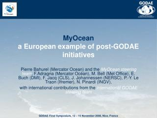 MyOcean a European example of post-GODAE initiatives