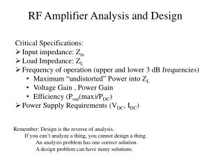 RF Amplifier Analysis and Design