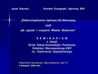 Politechnika Warszawska, Stara Kotłownia, sala 4-5 4 listopada  2009 roku