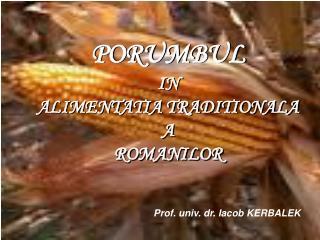PORUMBUL IN ALIMENTATIA TRADITIONALA A ROMANILOR