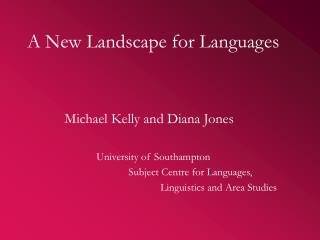 A New Landscape for Languages