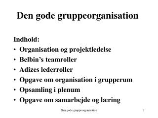 Den gode gruppeorganisation