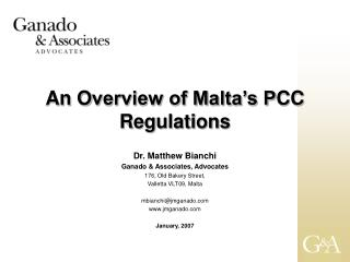 An  O verview of Malta's P CC  Regulations