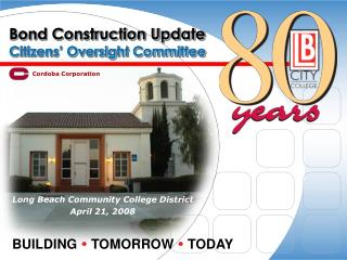 Bond Construction Update Citizens' Oversight Committee