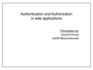Authentication and Authorization in web applications