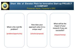 Short  title  of  Elevator Pitch for Innovative Start-up PROJECT or COMPANY