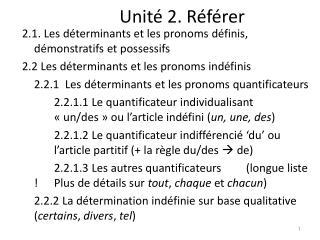 Unité 2. Référer