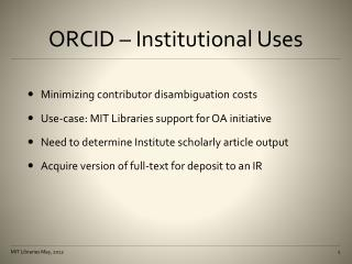 ORCID � Institutional Uses