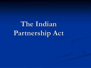 The Indian Partnership Act