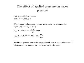 The effect of applied pressure on vapor pressure