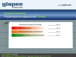 Supplier Scouting Presentazione opportunità  Tunisia