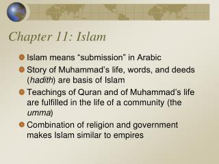 Chapter 11: Islam