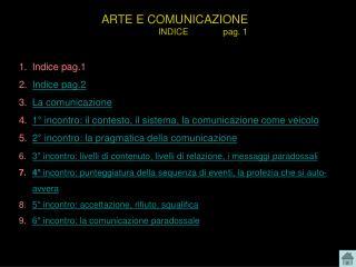 ARTE E COMUNICAZIONE                        INDICE              pag. 1