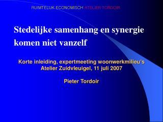 Korte inleiding, expertmeeting woonwerkmilieu's  Atelier Zuidvleuigel, 11 juli 2007 Pieter Tordoir