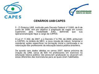CENÁRIOS UAB/CAPES