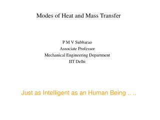 Modes of Heat and Mass Transfer