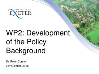 WP2: Development of the Policy Background